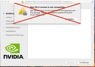 Nvidia Webtreiber all Version update App für High Sierra und Mojave
